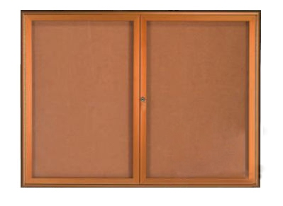 Aarco WFC2418LB 1 Door Enclosed Bulletin Board with Waterfall Style Aluminum Frame - Antique Brass Finish 24