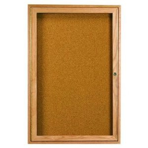 Aarco CBC2418R 1 Door Enclosed Bulletin Board with Cherry Finish 24