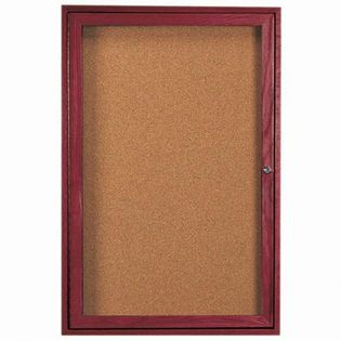 Aarco CBC3624R 1 Door Enclosed Bulletin Board with Cherry Finish 36