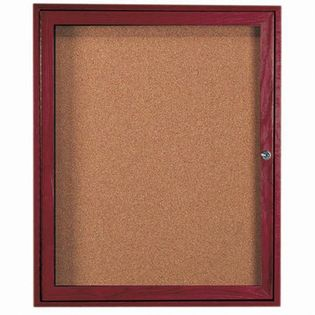 Aarco CBC3630R 1 Door Enclosed Bulletin Board with Cherry Finish 36