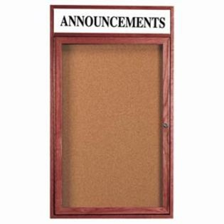 Aarco CBC4836RH Enclosed Bulletin Board with Cherry Finish and Header 48