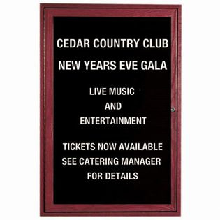 Aarco CDC2418 1 Door Enclosed Changeable Letter Board with Cherry Finish 24