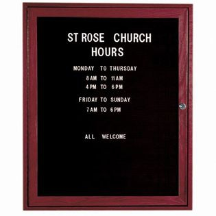 Aarco CDC3630 1 Door Enclosed Changeable Letter Board with Cherry Finish 36