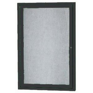 Aarco ODCC2418RBK 1 Door Outdoor Enclosed Bulletin Board with Black Powder Coated Aluminum Frame 24