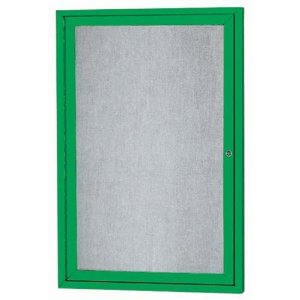 Aarco ODCC2418RG 1 Door Outdoor Enclosed Bulletin Board with Green Powder Coated Aluminum Frame 24