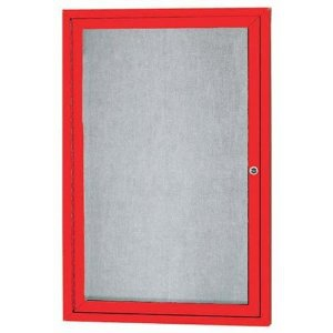 Aarco ODCC2418RR 1 Door Outdoor Enclosed Bulletin Board with Red Powder Coated Aluminum Frame 24
