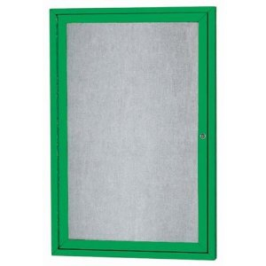 Aarco ODCC3624RG 1 Door Outdoor Enclosed Bulletin Board with Green Powder Coated Aluminum Frame 36