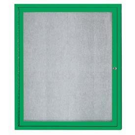 Aarco ODCC3630RG 1 Door Outdoor Enclosed Bulletin Board with Green Powder Coated Aluminum Frame 36