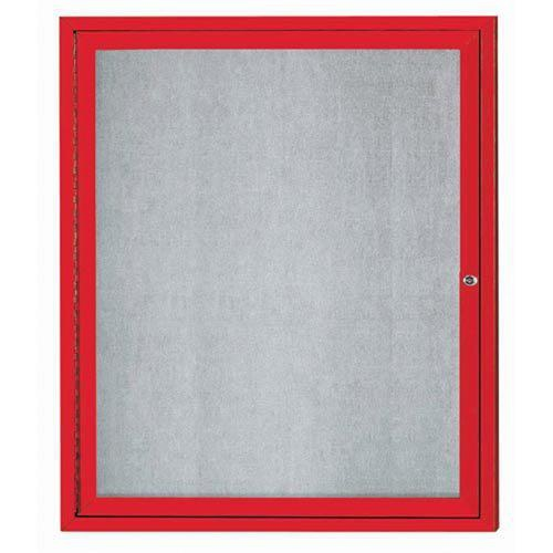 Aarco ODCC3630RR 1 Door Outdoor Enclosed Bulletin Board with Red Powder Coated Aluminum Frame 36