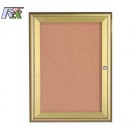 Aarco WFC3624G 1 Door Enclosed Bulletin Board with Waterfall Style Aluminum Frame - Gold Brass Finish 36