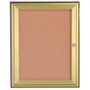 Aarco WFC3630G1 Door Enclosed Bulletin Board with Waterfall Style Aluminum Frame - Gold Brass Finish 36