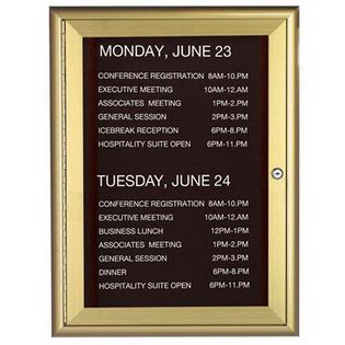 Aarco WFD3624G 1 Door Enclosed Directory Board with Waterfall Style Aluminum Frame - Gold Brass Finish  36
