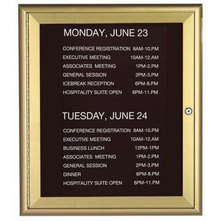 Aarco WFD3630G 1 Door Enclosed Directory Board with Waterfall Style Aluminum Frame - Gold Brass Finish  36