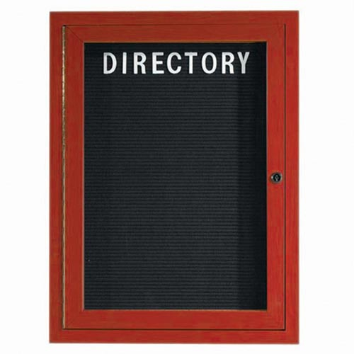 Aarco ADCW3624R Indoor Enclosed Directory Board with Aluminum Wood-Look Cherry Finish 36