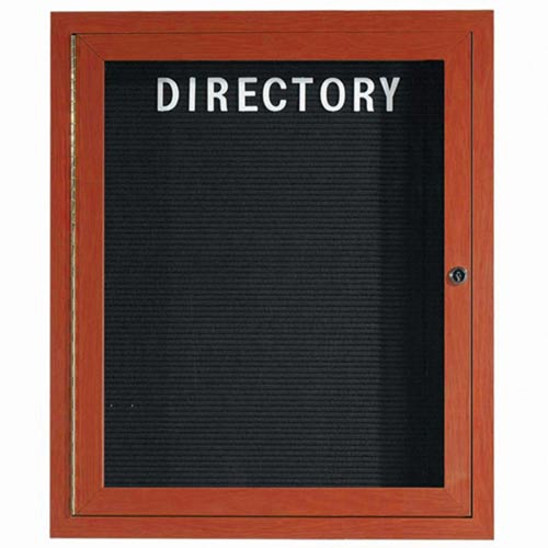 Aarco ADCW3630R Indoor Enclosed Directory Board with Aluminum Wood-Look Cherry Finish 36