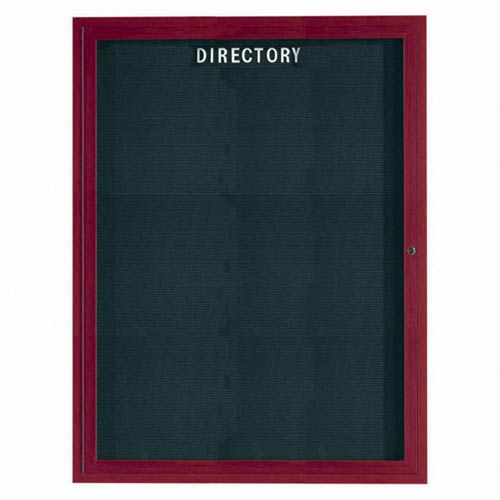 Aarco ADCW4836R Indoor Enclosed Directory Board with Aluminum Wood-Look Cherry Finish 48
