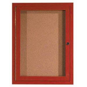 Aarco DCCW2418R 1 Door Indoor Enclosed Bulletin Board with Aluminum Wood-Look Cherry Finish 24