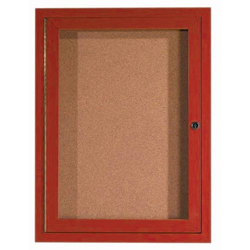 Aarco DCCW3624R 1 Door Indoor Enclosed Bulletin Board with Aluminum Wood-Look Cherry Finish 36