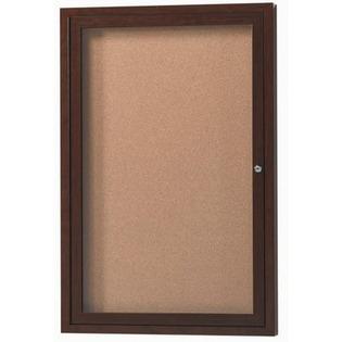 Aarco DCCW3630R 1 Door Indoor Enclosed Bulletin Board with Aluminum Wood-Look Cherry Finish 36