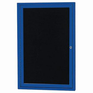 Aarco ADC2418IB Indoor Illuminated Enclosed Directory Board with Blue Anodized Aluminum Frame and Header  24