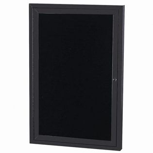 Aarco ADC4836IBK Indoor Illuminated Enclosed Directory Board with Black Anodized Aluminum Frame and Header  48