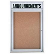 "Aarco DCC2418RHI 1 Door Indoor Illuminated Enclosed Bulletin Board with Aluminum Frame 24"" x 18"""