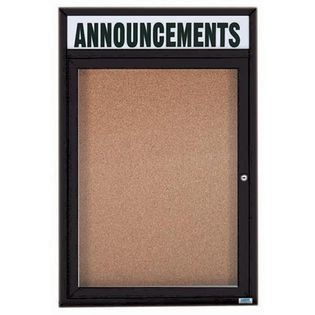 "Aarco DCC2418RHIBK 1 Door Indoor Illuminated Enclosed Bulletin Board with Aluminum Frame and Header 24"" x 18"""
