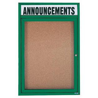 "Aarco DCC2418RHIG 1 Door Indoor Illuminated Enclosed Bulletin Board with Aluminum Frame and Header 24"" x 18"""