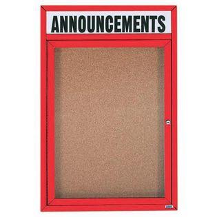 "Aarco DCC2418RHIR 1 Door Indoor Illuminated Enclosed Bulletin Board with Aluminum Frame and Header 24"" x 18"""