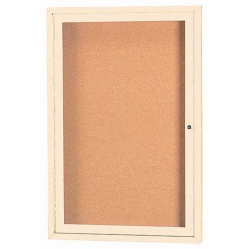 "Aarco DCC2418RHIV 1 Door Indoor Illuminated Enclosed Bulletin Board with Aluminum Frame and Header 24"" x 18"""