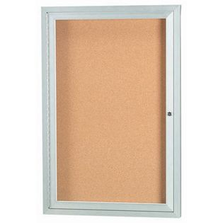 "Aarco DCC2418RI 1 Door Indoor Illuminated Model Enclosed Bulletin Board with Aluminum Frame 24"" x 18"""