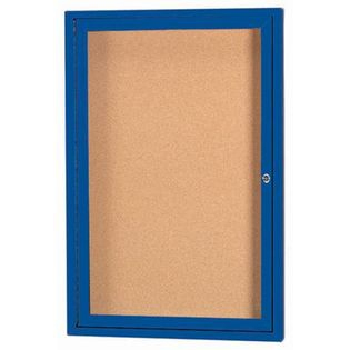 "Aarco DCC2418RIB Door Indoor Illuminated Enclosed Bulletin Board with Blue Powder Coated Aluminum Frame 24"" x 18"""