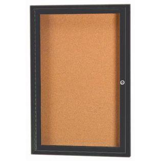 "Aarco DCC2418RIBA 1 Door Indoor Illuminated Enclosed Bulletin Board with Bronze Anodized Aluminum Frame 24"" x 18"""