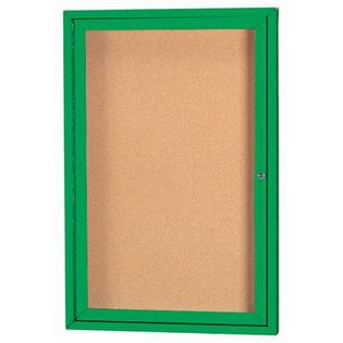 "Aarco DCC2418RIG 1 Door Indoor Illuminated Model Enclosed Bulletin Board with Green Powder Coated Aluminum Frame 24"" x 18"""