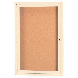 "Aarco DCC2418RIIV 1 Door Indoor Illuminated Model Enclosed Bulletin Board with Ivory Powder Coated Aluminum Frame 24"" x 18"""