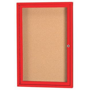 "Aarco DCC2418RIR 1 Door Indoor Illuminated Model Enclosed Bulletin Board with Red Powder Coated Aluminum Frame 24"" x 18"""