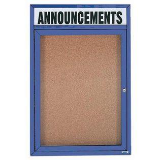 "Aarco DCC3624RHIB 1 Door Indoor Illuminated Enclosed Bulletin Board with Aluminum Frame and Header 36"" x 24"""