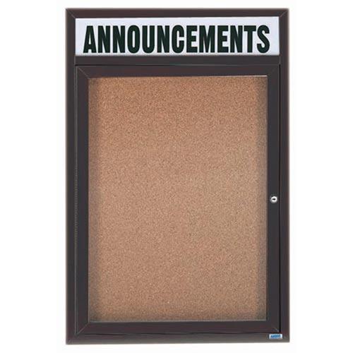"Aarco DCC3624RHIBA 1 Door Indoor Illuminated Enclosed Bulletin Board with Aluminum Frame and Header 36"" x 24"""