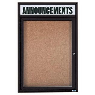 "Aarco DCC3624RHIBK 1 Door Indoor Illuminated Enclosed Bulletin Board with Aluminum Frame and Header 36"" x 24"""