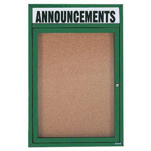 "Aarco DCC3624RHIG 1 Door Indoor Illuminated Enclosed Bulletin Board with Aluminum Frame and Header 36"" x 24"""