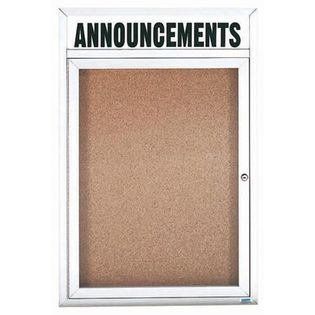 "Aarco DCC3624RHIW 1 Door Indoor Illuminated Enclosed Bulletin Board with Aluminum Frame and Header 36"" x 24"""