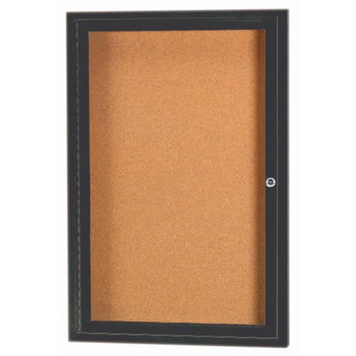 "Aarco DCC3624RIBA 1 Door Indoor Illuminated Enclosed Bulletin Board with Bronze Anodized Aluminum Frame 36"" x 24"""