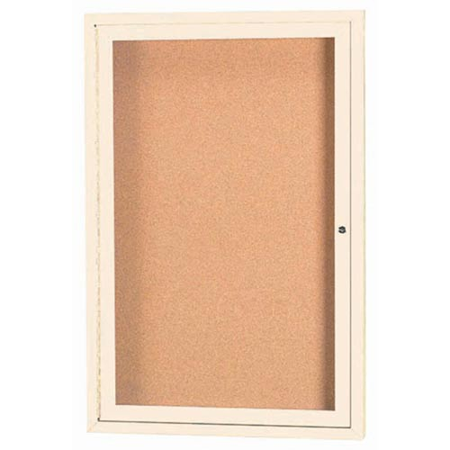 "Aarco DCC3624RIIV 1 Door Indoor Illuminated Enclosed Bulletin Board with Ivory Powder Coated Aluminum Frame 36"" x 24"""