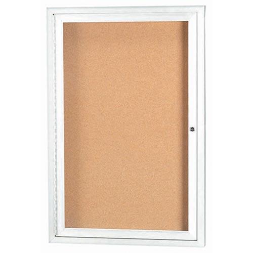 "Aarco DCC3624RIW 1 Door Indoor Illuminated Enclosed Bulletin Board White Powder Coated Aluminum Frame 36"" x 24"""