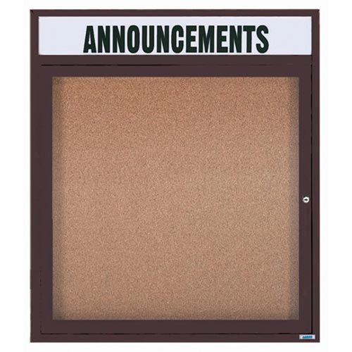 "Aarco DCC3630RHIBA 1 Door Indoor Illuminated Enclosed Bulletin Board with Bronze Anodized Aluminum Frame and Header 36"" x 30"""