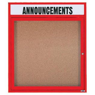 """Aarco DCC3630RHIR 1 Door Indoor Illuminated Enclosed Bulletin Board with Red Powder Coated Aluminum Frame and Header 36"""" x 30"""""""