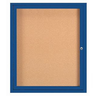 "Aarco DCC3630RI 1 Door Indoor Illuminated Enclosed Bulletin Board with Aluminum Frame 36"" x 30"""