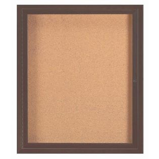 "Aarco DCC3630RIBA 1 Door Indoor Illuminated Enclosed Bulletin Board with Bronze Anodized Aluminum Frame 36"" x 30"""