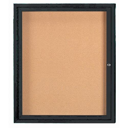 "Aarco DCC3630RIBK 1 Door Indoor Illuminated Enclosed Bulletin Board with Black Powder Coated Aluminum Frame 36"" x 30"""