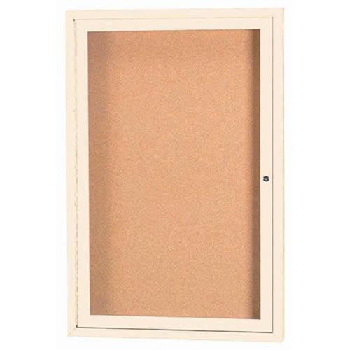 "Aarco DCC3630RIIV 1 Door Indoor Illuminated Enclosed Bulletin Board with Ivory Powder Coated Aluminum Frame 36"" x 30"""